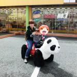 ホダパーでパンダカーに乗る親子