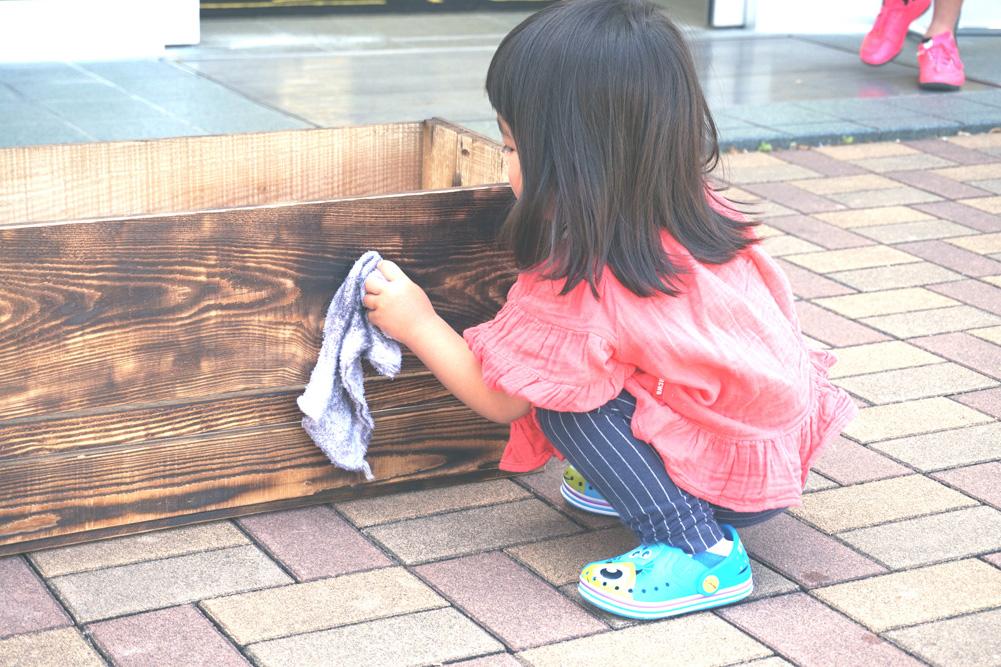 第4回H・DIYスクール、『座れる収納ボックス』作り、すすの拭き取り